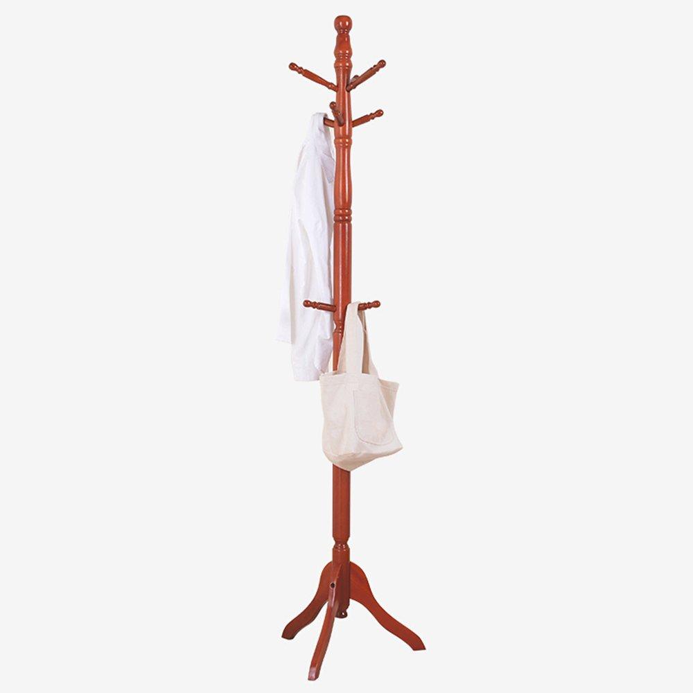 Coat rack / floor solid wood hanger / bedroom clothes rack / simple modern rack / sprinkle red coat rack (50 50 184cm)
