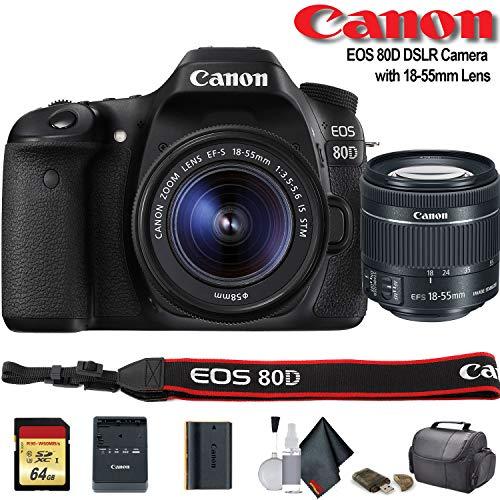 - Canon EOS 80D DSLR Camera with 18-55mm Lens (International Model) (1263C005) - Starter Bundle