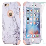 iPhone 6 Plus Case, AOKER Marble Design] Slim Dual Layer Anti-Scratch ShockProof Hard Back Cover Soft Silicone Protective Case Fit for iPhone 6 Plus 6S Plus with 2Pack tempered glass (Rosegold+Glass)