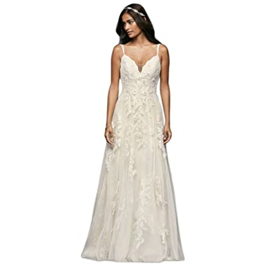 David\'s Bridal Petite Scalloped Wedding Dress with Double Straps ...