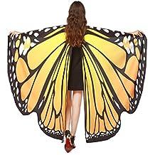 TLoowy 2017 New Womens Halloween Butterfly Wings Shawl Cape Scarf Fairy Poncho Shawl Wrap Costume Accessory (Orange)