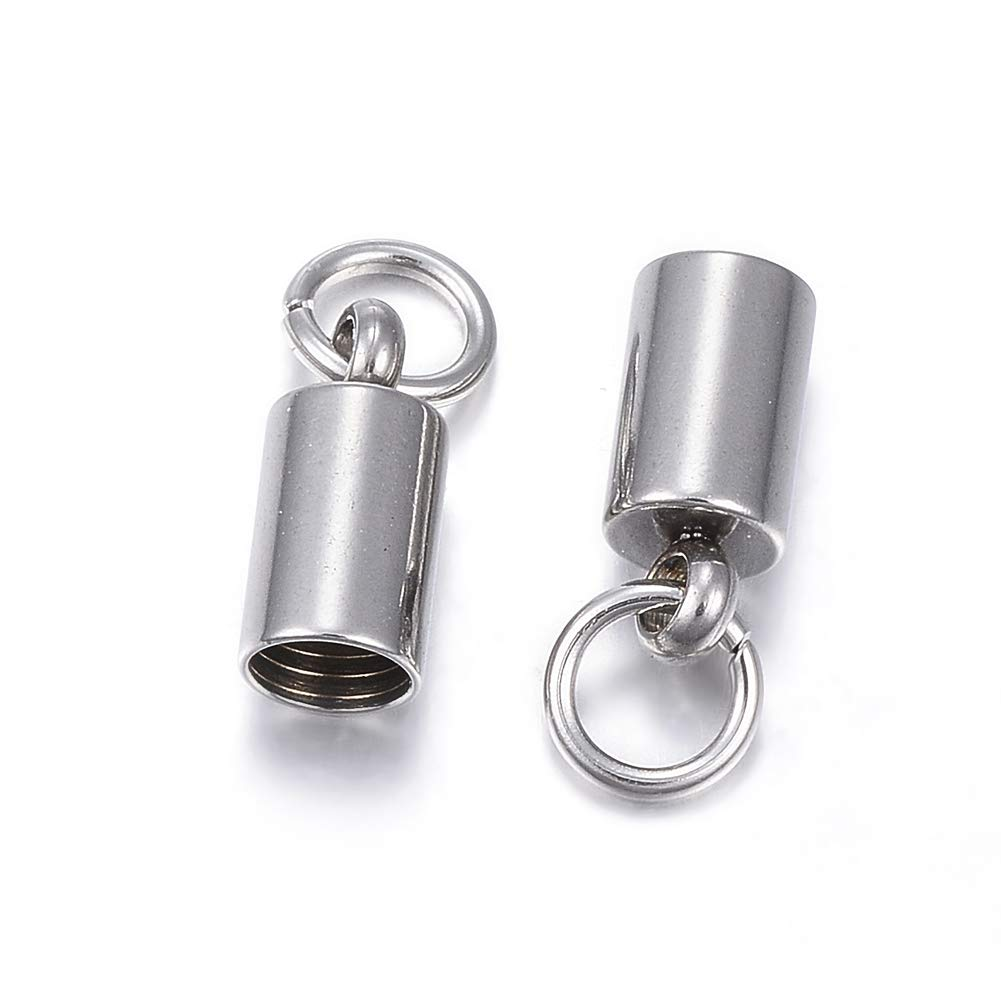 UNICRAFTALE 100pcs 304 Stainless Steel Cord Ends Golden Oval Cord End Cap Leather End Caps Leather Cord 1.5mm Hole Cord Terminators with Loop for Leather Cord Jewelry Making 8x4mm