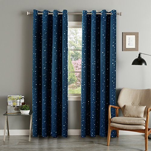 FlamingoP Printed Pair(2 Panels) Soft Microfiber Room Darkening Thermal Insulated & Heating Grommet Top Blackout Navy Stars kids Curtains/Drapers 84 by 52 inch