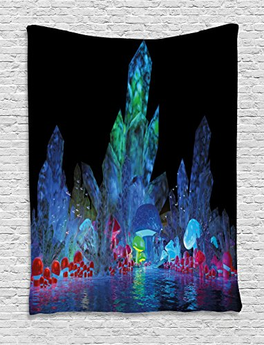 Ambesonne Psychedelic Tapestry, Magic Crystals Background Effects Mystic Nature Artistic with Neon Light Image, Wall Hanging for Bedroom Living Room Dorm, 60 W x 80 L Inches, Navy Black