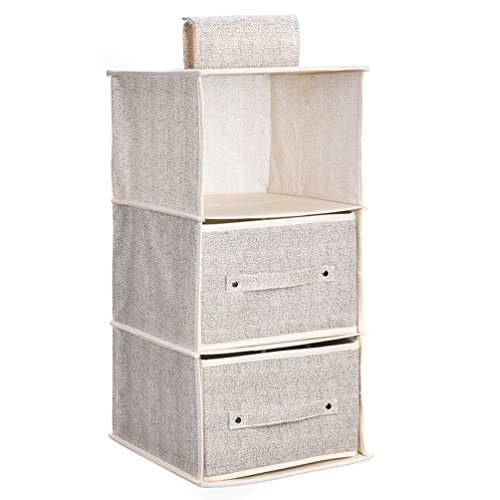Hanging Closet Organizer Suit for Clothes Sweaters Shoes Storage Hanging Wardrobe Storage Shelves Shoe Rack (Beige 3 Shlef 2 Drawers) by Ghope