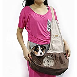 Pet Sling Carrier, THINKPRICE Dog Sling Bag Shoulder Carry Bag with Extra Pocket for Cat Dog Puppy Kitty Rabbit Small Animals