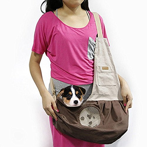 Pet Sling Carrier, PYRUS Dog Sling Bag Shoulder Carry Bag with Extra Pocket for Cat Dog Puppy Kitty Rabbit Small Animals ( Brown ) by PYRUS