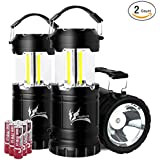 Portable COB Camping Lantern with LED Flashlight, Ultra Bright 300 Lumens COB Lighting Great for Outdoor Activities, Battery Powered Collapsible Camping Equipment Gear Lights