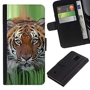 Planetar® Modelo colorido cuero carpeta tirón caso cubierta piel Holster Funda protección Para Samsung Galaxy Note 4 IV ( Tiger hierba de la primavera de la naturaleza animal de caza )