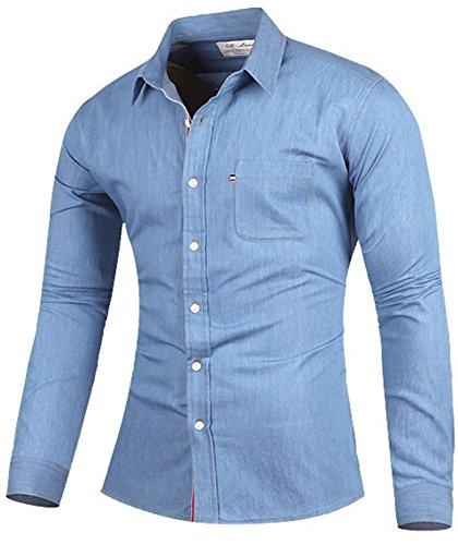 Jeansmore Mens Denim Work - Spread Shirt Denim Collar
