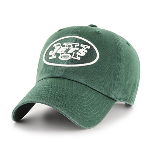 OTS NFL New York Jets Challenger Clean Up Adjustable Hat, Dark Green, One (Team Nfl Football Hat)