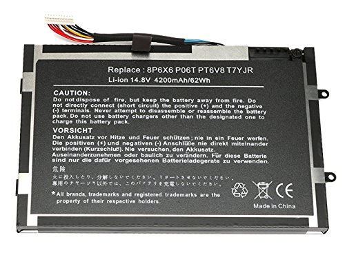 Replacement Laptop Battery for Dell Alienware M11X R1 R2 R3, Alienware M14X R1 R2, P/N: 8P6X6 P06T PT6V8 T7YJR [14.8V 4200mAh/62Wh]