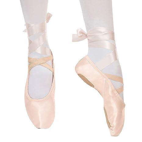 Bezioner Zapatillas de Ballet Suela Partida Satín Zapatos de Danza y Gimnasia con Cinta para Niñas