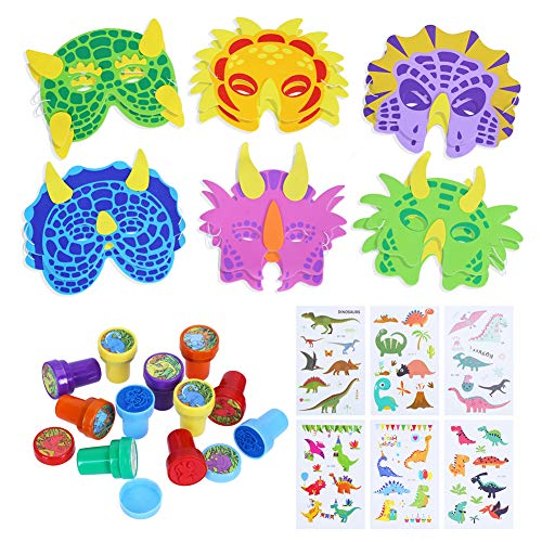 (CCINEE Dinosaur Toys Kit Dinosaur Foam Masks Ink Stamps and Temporary Tattoo Stickers for Kids Party Favors Supply)