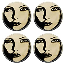 MSD Round Coasters IMAGE 24076861 Water colour painting of a girl face