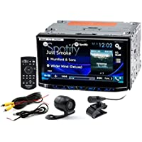 Car Double DIN Bluetooth In-Dash DVD/CD/AM/FM Receiver with 7 Touchscreen Display, Dual Camera Input and Built-in HD Radio