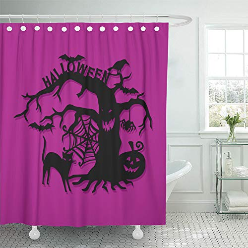 (Emvency Shower Curtain Set Waterproof Adjustable Polyester Fabric Bats of Cut Silhouette Halloween Spooky Tree Cat Creepy 72 x 78 Inches Set with Hooks for)