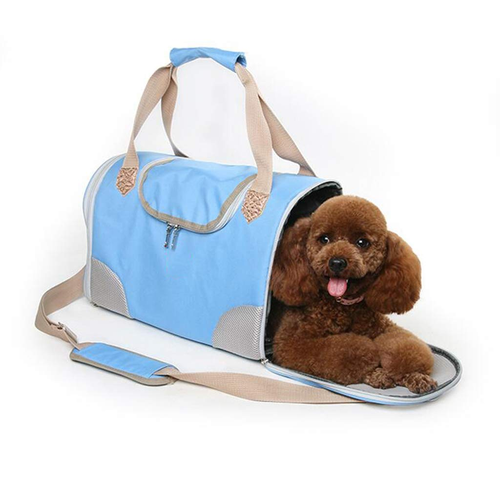 bluee Portable Outing Pet Backpack Cat Bag Dog Bag Teddy Outer Bag Bag Handbag Lostgaming (color   bluee)
