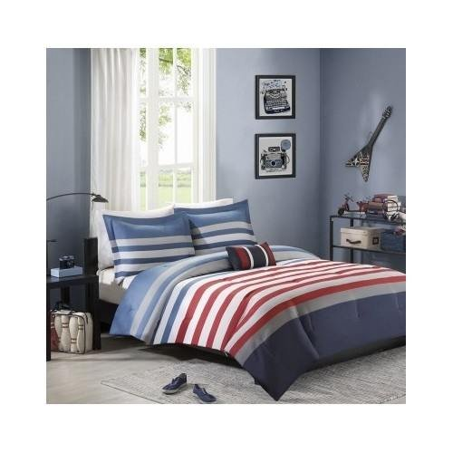 Reversible Kids Teen Boys Red Blue White Stripes Comforter Bedding Set