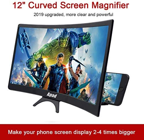 """12"""" 3D Curve Screen Magnifier for Cell Phone, HD Amplifier Projector Magnifing Screen Enlarger for Movies, Videos, and Gaming with Foldable Stand Compatible with All Smartphones (Black, 12 inch) 51kxz20C7PL"""