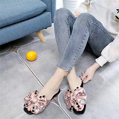 HUHU833 Fashion Women Bow Tie Flat Heel Anti Skidding Beach Shoes Sandals Slipper Pink ub3Qk7y