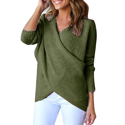 Women Sweater, 2017 New Hot Sale Womens Long V-Neck Cross Long Sleeve Loose Knitted Sweater Casual Jumper Tops by Neartime (M, Green)]()