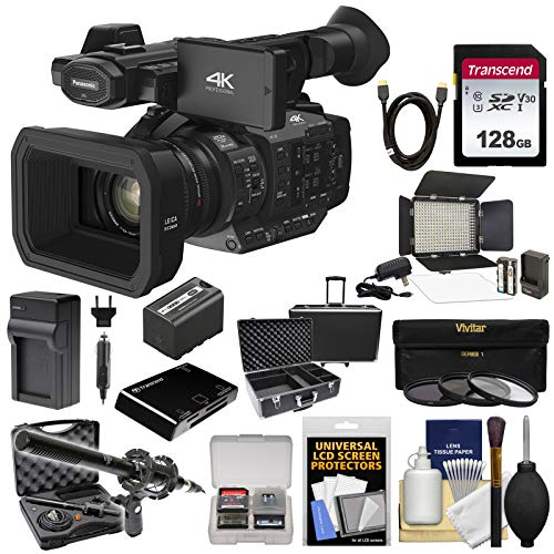 Panasonic HC-X1 4K Ultra HD Video Camera Camcorder with 128GB Card + Battery & Charger + Microphone + LED Light + Case + - Hd Panasonic Led