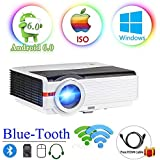 200 LCD LED HD Android6.0 Projector WiFi Bluetooth 4200 Lumen WXGA, Multimedia Home Cinema Theater Video Projector 1080P HDMI VGA USB SD AV TV Movie TV Video Game Home Outdoor Entertainment
