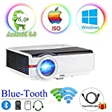 "200"" LCD LED HD Android6.0 Projector WiFi Bluetooth 4200 Lumen WXGA, Multimedia Home Cinema Theater Video Projector 1080P HDMI VGA USB SD AV TV Movie TV Video Game Home Outdoor Entertainment"