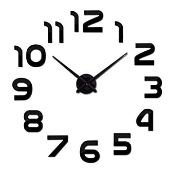 Amazon.com: Kamas New Acrylic Mirror DIY Clock Watch Wall Stickers Clocks Reloj De Pared Horloge Large Decorative Quartz Modern - (Color: Silver, ...