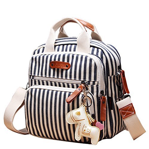 Quality Canvas Designer Organizer Mini Fashion Multi-Function Baby Nappy Changing Diaper Bag Tote Messenger Backpack-Stripes