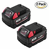 Munikind 2 Pack 6.0Ah 18V Battery for Milwaukee M18 XC Red Lithium M18B 48-11-1860 48-11-1850 48-11-1820 48-11-1815 48-11-1828 Cordless Power Tools