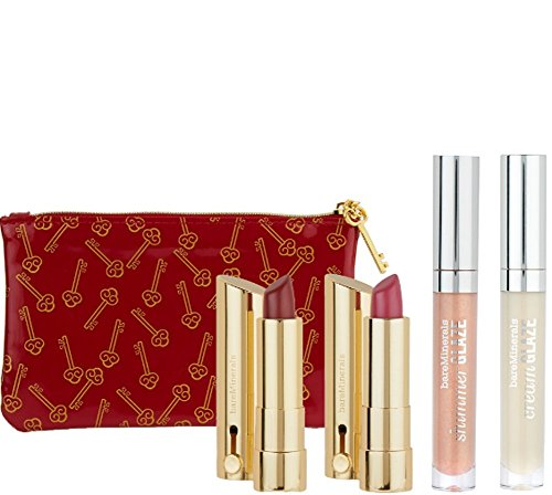 BareMinerals Dazzling Dimensions 4-Piece Lip Collection For Multi-Dimensional Finishes Plus Bag