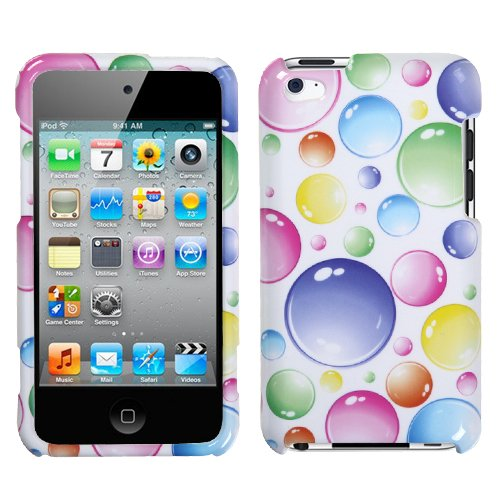 Rainbow Bigger Bubbles Faceplate Hard Plastic Protector Snap-On Cover Case For Apple iPod Touch 4 (4th Generation) (Clip Case Cover Phone Faceplate)