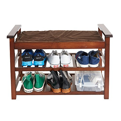 Lucky Tree Espresso Upholstered Bench with Padded Seat 2 Tiers Bamboo Storage Rack Standing Shoe organizer Shelf with Cushion for Entryway BedroomMud Room by Lucky tree (Image #1)
