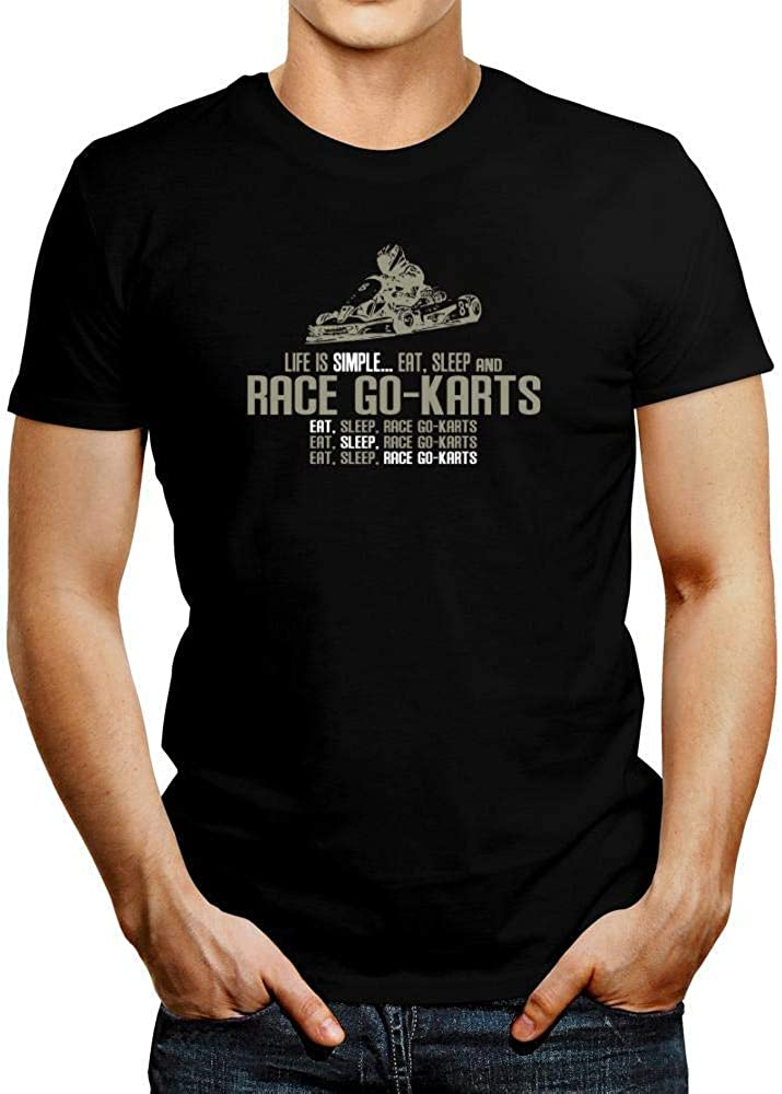 Idakoos Life is Simple eat Sleep Race Go Karts T-Shirt