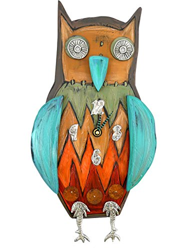 Folksy Owl Wall Clock, Carved Wood & Pewter,