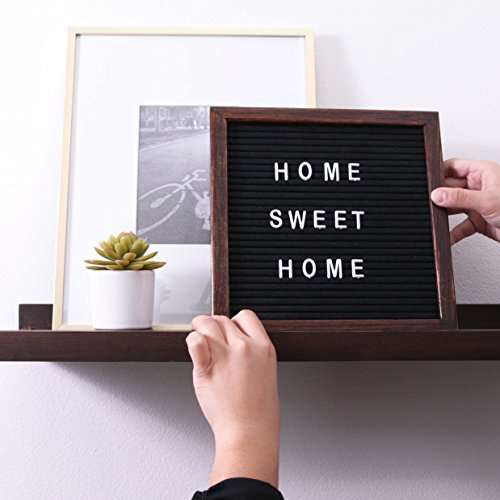 Letter Board Premium Felt 10x10 Wooden - 346 White/Glow in the Dark Letter and Emojis, Durable Canvas Bag, Sturdy Wall Mount, Beautiful Dark Finished Oak Frame, Perfect for Home and Office Photo #5