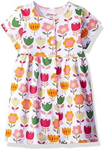Zutano Baby Girls' Classic Short Sleeve Button Dress, linnaea, 18M (12-18 Months)