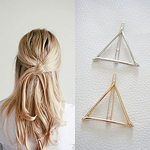 Minimalist Dainty Gold Silver Hollow Triangle Geometric Metal Hairpin Hair Clip Clamps Accessories Barrettes Bobby Pin Ponytail Holder Statement Women's GIFT Headwear Headdress Styling (Hair Pin Gold)