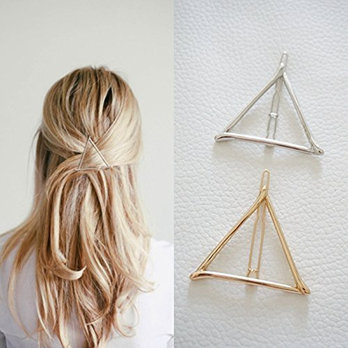51ky 2BaolnjL - Minimalist Dainty Gold Silver Hollow Triangle Geometric Metal Hairpin Hair Clip Clamps Accessories Barrettes Bobby Pin Ponytail Holder Statement Women's GIFT Headwear Headdress Styling Jewelry