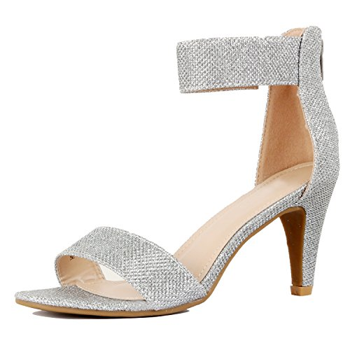 Guilty Shoes Womens Classic Comfort Sexy Open Toe Ankle Strap Dress Stiletto Kitten Heel Sandals Sandals, Silver Metallic, 6.5 B(M) US Womens Medium Heel Short