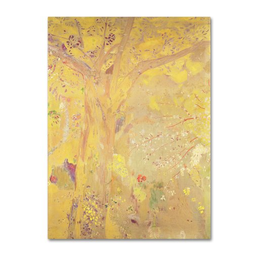 1900's Art (Yellow Tree 1900 Artwork by Odilon Redon, 14 by 19-Inch Canvas Wall Art)