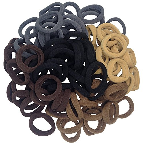 Thick Seamless Cotton Hair Bands, Simply Hair Ties Ponytail Holders Headband Scrunchies Hair Accessories No Crease Damage for Thick Hair (Neutral Colors) (Nylon Hair Band)