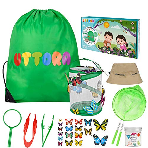 UTTORA Draussen Forscherset Spielzeug, Schmetterling Aufzucht Set mit Lupe, Insektensammelflasche Insektennetz, Hut, Schmetterlingsmodell, Schmetterlinge Züchten Kinder Outdoor Bildungs Kit (27 PCS)