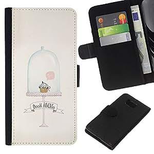 WINCASE Cuadro Funda Voltear Cuero Ranura Tarjetas TPU Carcasas Protectora Cover Case Para Samsung ALPHA G850 - magdalena del mollete limpio lindo minimalista