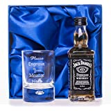 Engraved/Personalised Shot Glass & Jack Daniels in Silk Gift Box Set For Best Man/Dad/Wedding/18th/21st/30th/40th Birthday Gift