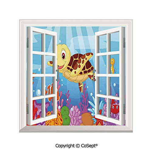 SCOXIXI Open Window Wall Mural,Funny Adorable Cartoon Style Underwater Sea Animals Baby Turtle and Fish Collection,for Living Room(25.86x22.63 inch)