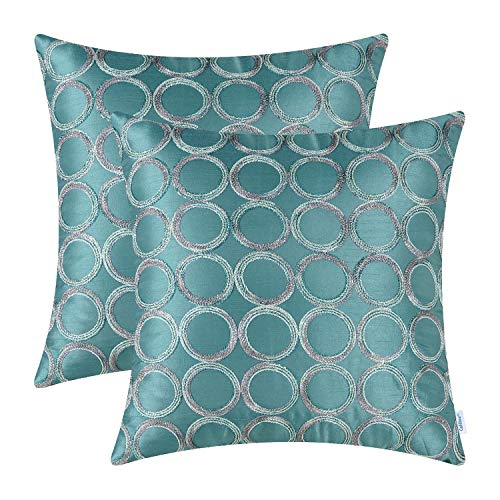 (CaliTime Pack of 2 Cushion Covers Throw Pillow Cases Shells for Sofa Couch Home Decoration 18 X 18 Inches Modern Circles Rings Geometric Chain Embroidered)