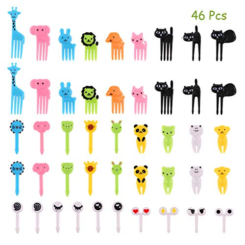 Halloween Fruit Kabobs For Kids ((46pcs) OOTSR Food Picks Fruit Forks for Kids, Mini Animal Food Toothpick Cupcake Dessert Forks for Kids Party Bento Lunch Box, Random)
